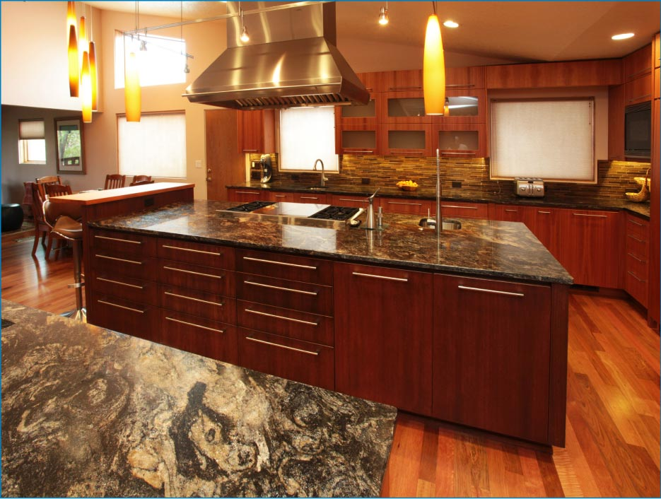 "Scott: ""Cosmos granite is a beautiful material, and really complements the clean lines of this modern, residential kitchen."""