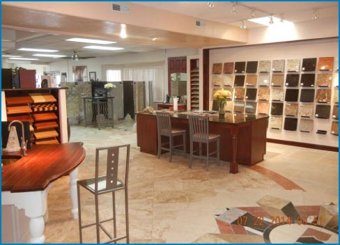 The RMS showroom includes stone samples from AGM, a strategic partner with the Artisan Group.