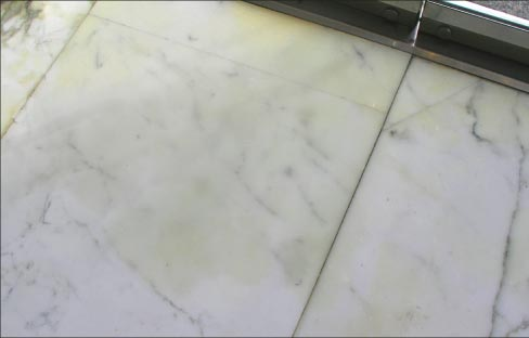 Yellowing, discoloration and rusting from oxidation are common problems  seen in white marbles after flooding.