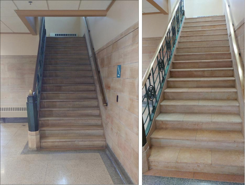 Travertine Stair Treads And Risers, Before (above) And After. Extremely  Dirty Areas