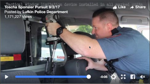 "… but no less surprised than the Lufkin officers who quickly gave chase when she drove off. Here, a Lufkin officer installs a ""tactical window limitation device."""