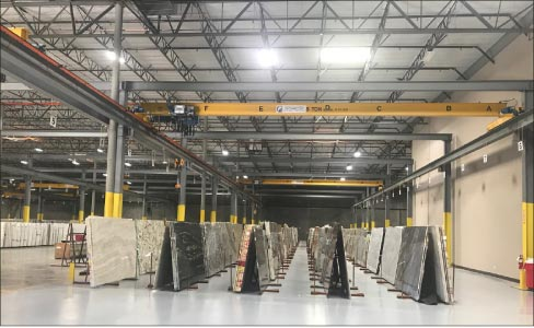 The 14,000 square-foot slab selection area houses over 5,500 slabs of natural stone and Q premium natural quartz colors. The new distribution center also houses MSI's complete line of Arterra porcelain pavers.