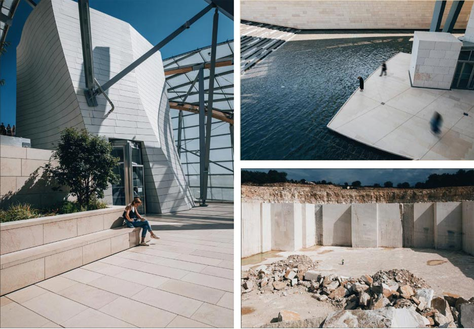 Above, left: The Louis Vuitton Foundation building designed by Frank Gehry includes walkways, benches, cladding and promenades featuring Polycor's French limestone.  Above, top right: Visitors to the Louis Vuitton Foundation pass over a French limestone promenade to take in the stunning water feature.  This year, Polycor purchased four limestone quarries in the Above, bottom right: Burgundy region and will now make the stone available worldwide for heritage projects, modern architectural installations, and even residential homes.