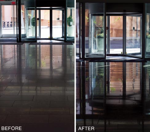 Store entryway before and after honing and polishing. Heavy foot traffic at entrances will cause the surface to wear quickly, from extra soiling and scratching.