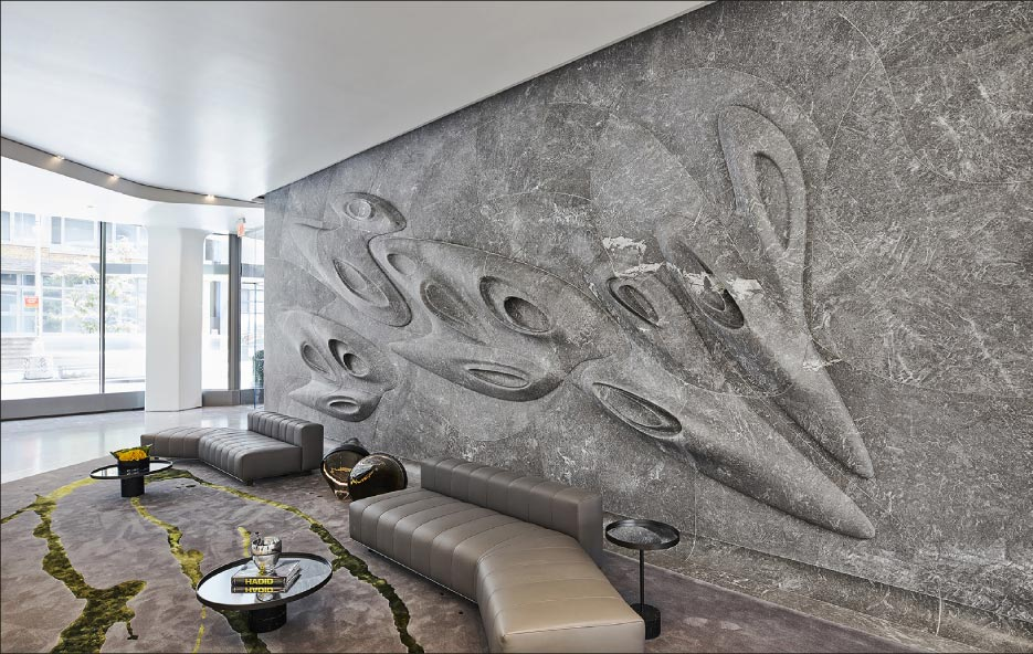 The installation process for the stone wall took about three weeks to complete, with four to five Port Morris Tile & Marble craftsmen working on the project. The stone floor and walls of the entire lobby took an additional seven weeks to complete.