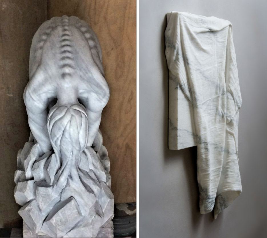 Above, left: Escombros by Jorge Vascano. Above, right: Unseen by Sebastian Martorana. Montclair Danby marble. Photo by Geoff T. Graham