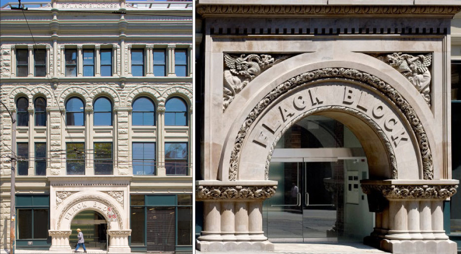 Vancouver-based, British-born carver Tony Rogac and his company Architectural Masonry was commissioned to reproduce the arch.