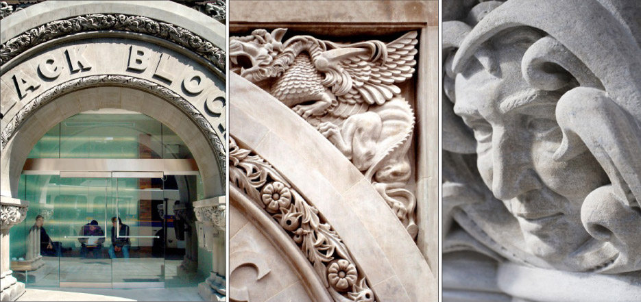 Intricately hand-carved relief-sculptures of mythical creatures & whimsical gargoyle faces adorn the arch.