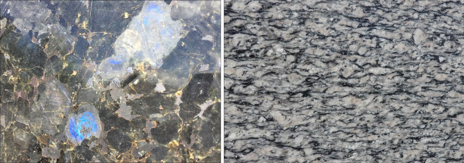 Above, left: Blue feldspar — called Labradorite — in a slab of Volga Blue.  Above, right: These feldspar grains lost their blocky shape when the stone got squeezed and stretched during metamorphism. The black, wavy layers are black mica.