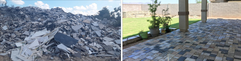 The Tomahawk Stone Splitter is capable of producing evenly- sized rectangular granite pavers and curved firepit blocks.