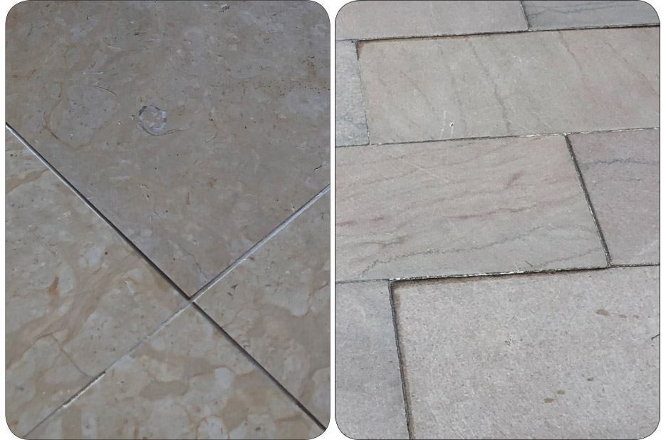 Above, left: Moderate lippage on a limestone floor. Above, right: Severe lippage on a marble floor.
