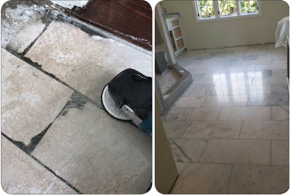 Above, left: Severe lippage removal using a hand tool with ELF5 Flexible Metal 40 grit. Above, right: Restored polished marble, honed in place.