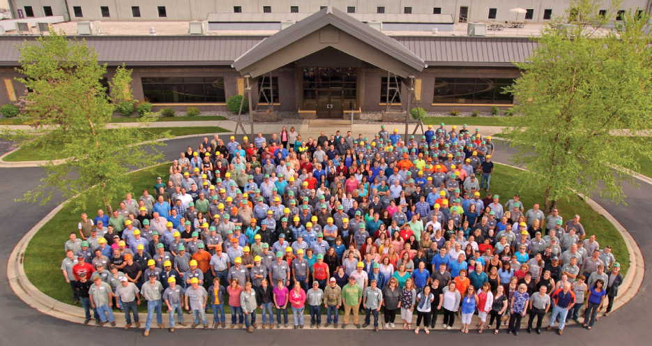 Coldspring Company photo, c. 2018. Over 500 employees from all four divisions of the company are represented in this group.