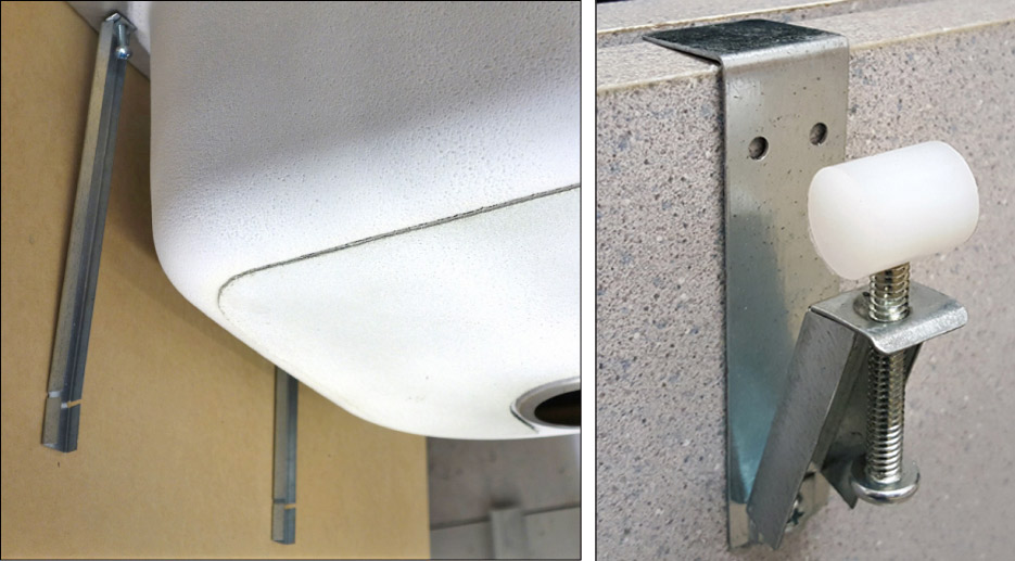 Above, left: LC Brackets, for undermount sink installation can be used for repairs or new installation.  Above, right: E-Brackets provide support without drilling anchor points.