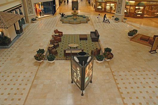 Oaks Hill Mall, located in Thousand Oaks, CA. Premier Tile & Marble Company installed this elaborate design using various types and combinations of limestone tiles. CTaSC provided consulting services for Premier by reviewing architectural specifications and site conditions prior to the installation, and then providing the findings with recommendations to the mall developer.