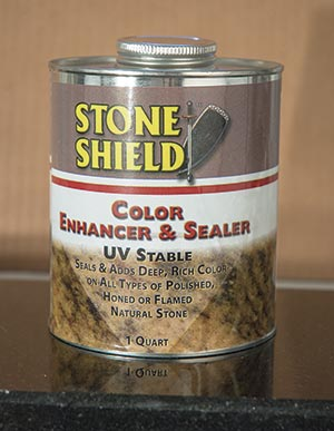 Stone Shield Enhancer & Sealer is great for color enhancing of all types of granite, marble and travertines. It can be used to get wet-effect look for indoor and outdoor applications. The Stone Shield Enhancer & Sealer brings out a deep rich color in stone. The UV stable formula  can be applied on polished, flamed, rough or sanded surfaces, and works well to disguise small scratches or lower polished surfaces. As a sealer, it's also excellent for protecting surfaces against oil and water spotting.