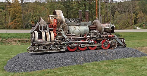 "Scrap metal locomotive assemblage ""Across Time and Space,"" made by Guohua Xu from China."