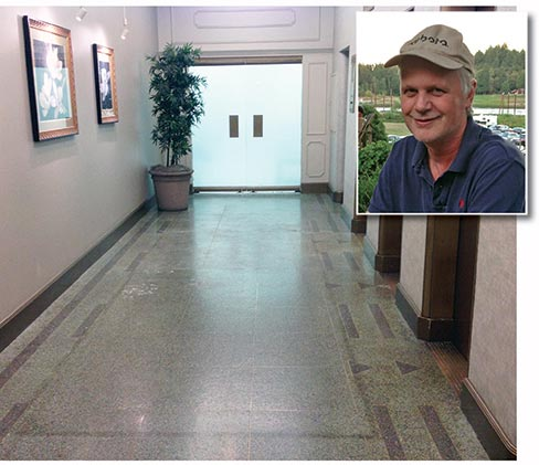 (Before) Terrazzo floor in Historic Board of Trade building in Portland. Wiley has restored several old terrazzo floors in historic buildings around the Portland area. Inset: Jeff Wiley