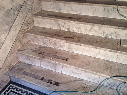 (before) Historic Alaskan Tokeen marble entry steps in another stately, old apartment building in Portland.  Common to old construction in Portland