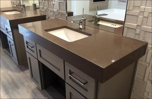 Bon Twin Vanities With A 4 Inch Mitered Edge Built Of Q Stone (Bretonstone®)