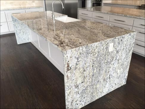 Gentil 10.5 X 4 Foot White Ice 3cm Brazilian Granite Kitchen Island Features  Pattern Matched,