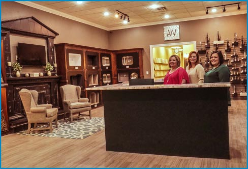 AW Stoneworks showroom,  with customer service representatives Tina, Torie and Madison.