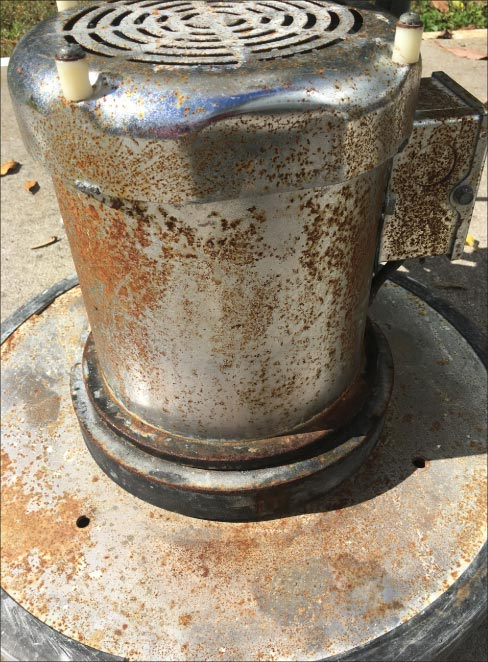 Rust from exposure to acid and fumes occurred over an extended period of use. Be sure to rinse well after project completion to avoid rust on your costly equipment.