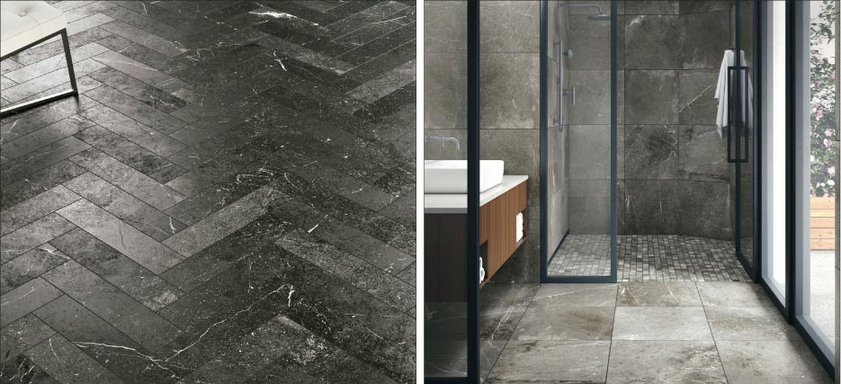 Above, Left: From Crossville's Astral line, Draco in 6-by-24 inch pavers features charcoal hues threaded with white, dark like the night sky.  Above, Right: Magellan includes 24-by-24 inch tiles, perfect for the bath.
