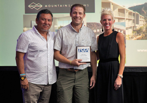 Aaron Crowley (center) accepts the 2018 Best New Product award at the annual ISFA conference from incoming 2019 ISFA President  Augie Chavez (left) and Amy Miller, ISFA Executive Director.