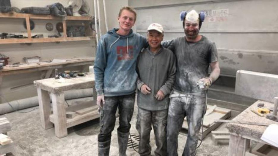Three of the talented Red Leaf stone craftsmen.