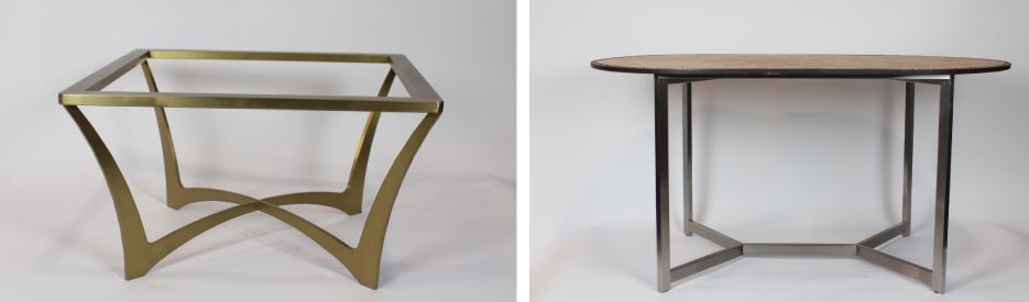 Left: This stainless steel coffee table base will support an eight-inch round or 36-inch square stone table top.  Right: Stainless steel base for six-person round table.