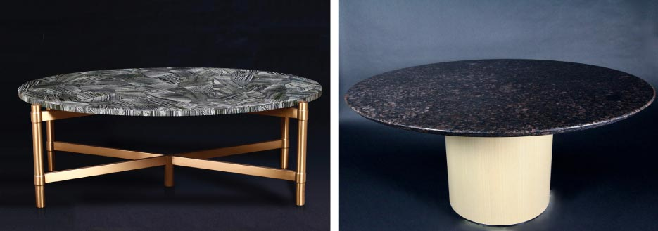 Left: This oval coffee table features a designer stainless steel base. Right: 60-inch granite top, washed oak base, six-person table.