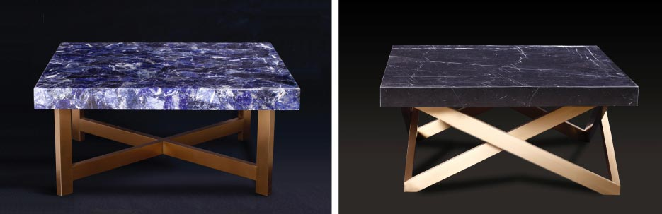 Left: Sodalite Blue top side table with a stainless steel base.   Right: 36-inch square Nero Marquina top, stainless steel base.