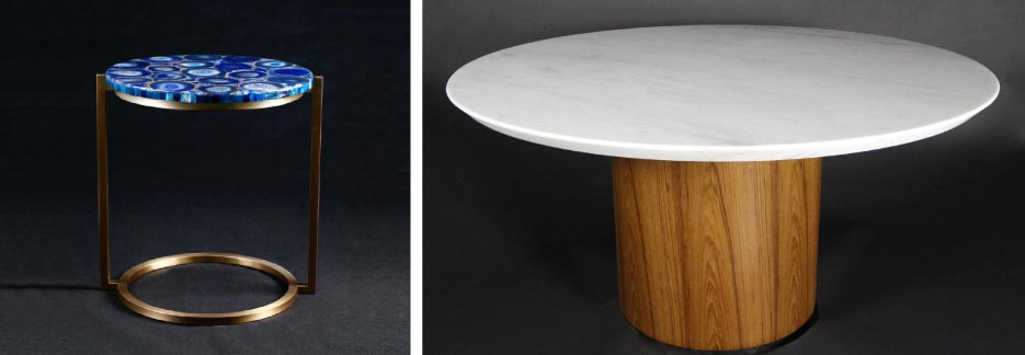 Left: Blue Agate top side table with a circular stainless steel base. Right: 57-inch circular table with teak base.