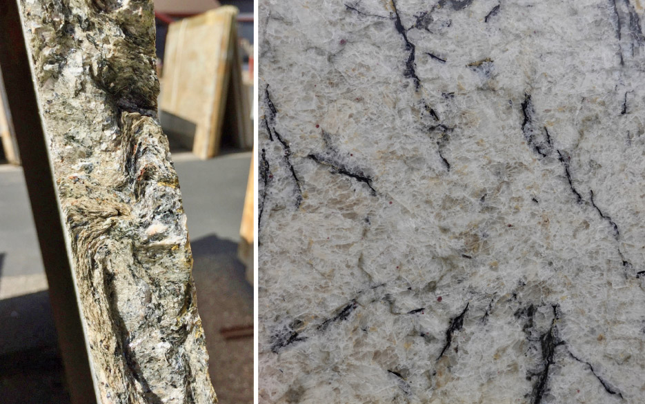 When viewed on the edge of the slab, mica's distinctive thin sheets are easily recognizable. In this case, the layers of this schist are folded into wavy layers, which is a common theme in metamorphic rocks.  Right: This pretty slab of Persian Pearl is mostly quartz with thin slivers of black mica and a few garnets.