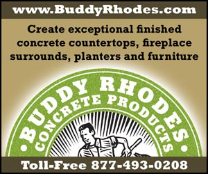 Buddy Rhodes Concrete Products: Create exceptional finished concrete countertops, fireplace surrounds, planters and furniture