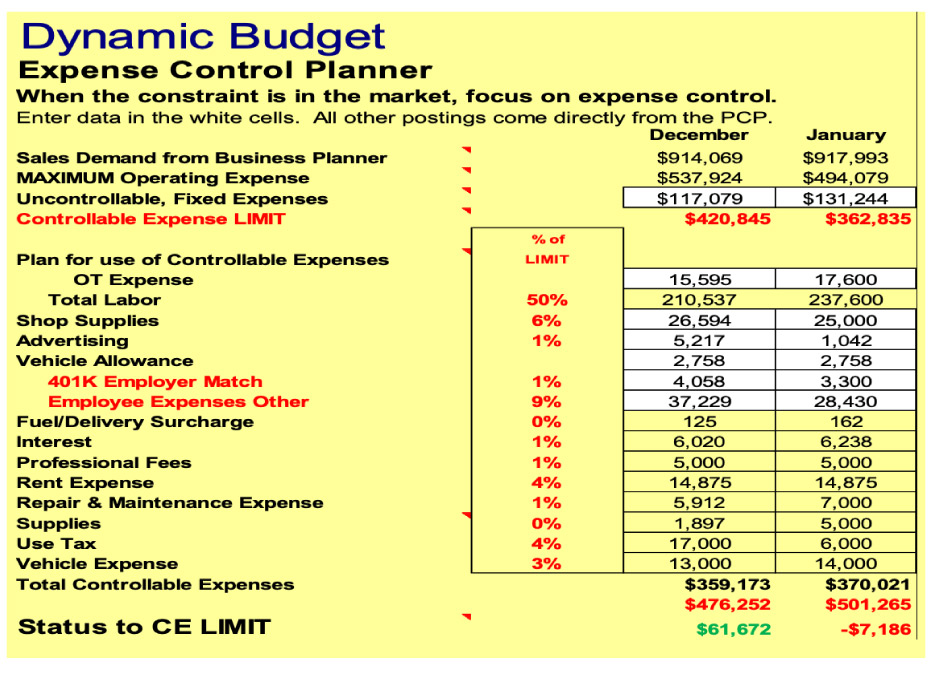 The Dynamic Budget/Expense Control Planner gives you a line-item financial status of the business system, and  indicates decisions needed to maximize financial profits.