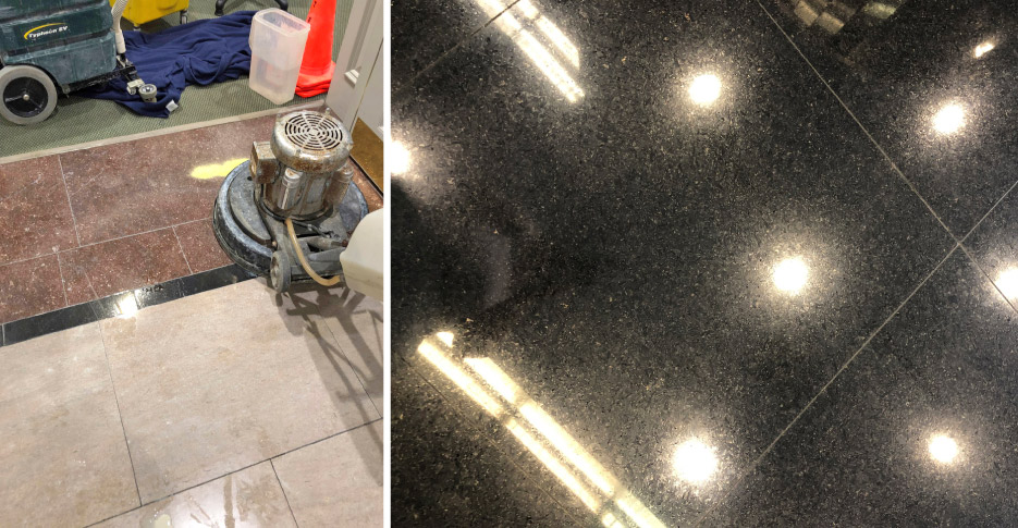 Above, left: Here, I've applied clean water to a small section of marble floor. I'm using a swing machine with Majestic 5X Gold. Above, right: Absolute Black Granite floor after polishing with Majestic Granite Polishing Powder Dark.